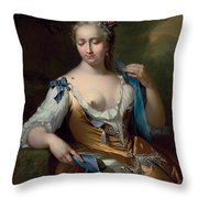 A Lady In A Landscape With A Fly On Her Shoulder Throw Pillow by Frans van der Mijn