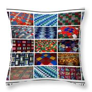 A Menagerie Of Colorful Quilts  Throw Pillow by Barbara Griffin