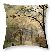 A Moonlit Stroll Bonchurch Isle of Wight Throw Pillow by John Atkinson Grimshaw