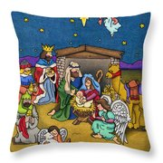 A Nativity Scene Throw Pillow by Sarah Batalka
