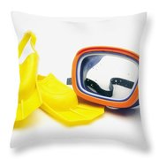 A Pair Of Flippers And Underwater Mask Throw Pillow by Ron Nickel