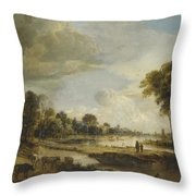 A River Landscape with Figures and Cattle Throw Pillow by Gianfranco Weiss