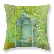 A Seat in the Garden Throw Pillow by Garry Walton