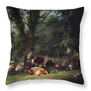 A Shady Corner Throw Pillow by William Snr. Shayer
