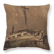 A Ship In Choppy Seas Throw Pillow by Victor Hugo