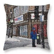 A Snowy Day On Wellington Throw Pillow by Reb Frost