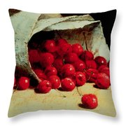 A Spilled Bag Of Cherries Throw Pillow by Antoine Vollon
