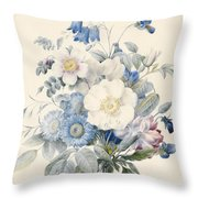 A Spray Of Summer Flowers Throw Pillow by Louise D Orleans