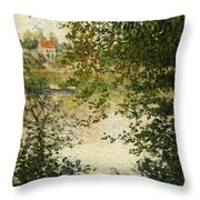 A View Through The Trees Of La Grande Jatte Island Throw Pillow by Claude Monet