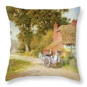 A Warwickshire Lane Throw Pillow by Arthur Claude Strachan