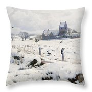 A Winter Landscape Holmstrup Throw Pillow by Peder Monsted