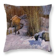 A Winter Landscape With Children Sledging Throw Pillow by Peder Monsted