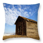 A Wooden Shed Stands Alone Throw Pillow by Steve Nagy