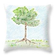 A Young Tree Throw Pillow by Keiko Katsuta