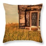 Abandoned House In Grass Throw Pillow by Jill Battaglia