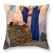 Abraham And Isaac On Mount Moriah Throw Pillow by William Henry Margetson