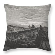Abraham Journeying Into The Land Of Canaan Throw Pillow by Gustave Dore