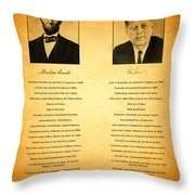 Abraham Lincoln And John F Kennedy Presidential Similarities And Coincidences Conspiracy Theory Fun Throw Pillow by Design Turnpike