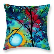 Abstract Art Landscape Tree Blossoms Sea Painting Under The Light Of The Moon I  By Madart Throw Pillow by Megan Duncanson