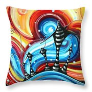 Abstract Art Original Colorful Funky House Painting Home On The Hill By Madart Throw Pillow by Megan Duncanson