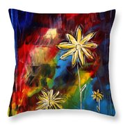 Abstract Art Original Daisy Flower Painting Visual Feast By Madart Throw Pillow by Megan Duncanson