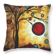Abstract Art Original Metallic Gold Landscape Painting Freedom Of Joy By Madart Throw Pillow by Megan Duncanson