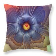 Abstract Blue Flower In Sunday Dress Throw Pillow by Karin Kuhlmann