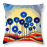 Abstract Blue Symphony  Throw Pillow by Ramona Matei