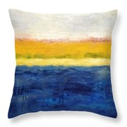 Abstract Dunes with Blue and Gold Throw Pillow by Michelle Calkins