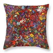 Abstract - Fabric Paint - Sanity Throw Pillow by Mike Savad