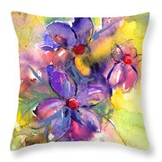 abstract Flower botanical watercolor painting print Throw Pillow by Svetlana Novikova