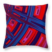 Abstract in Red and Blue Throw Pillow by John Edwards