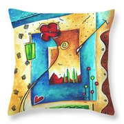 Abstract Pop Art Landscape Floral Original Painting Joyful World By Madart Throw Pillow by Megan Duncanson
