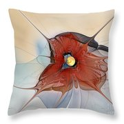 Abstract Red Flower Throw Pillow by Karin Kuhlmann