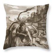 Achelous In The Shape Of A Bull Throw Pillow by Bernard Picart