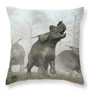 Achelousauruses Throw Pillow by Daniel Eskridge