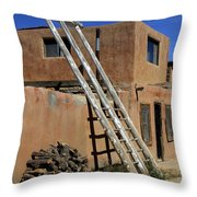 Acoma Pueblo Adobe Homes 3 Throw Pillow by Mike McGlothlen