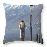 Admiring The Mountains Throw Pillow by Joana Kruse