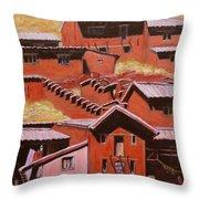 Adobe Village - Peru Impression II Throw Pillow by Xueling Zou