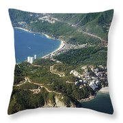Aerial  of Acapulco Bay Mexico from Both Sides Throw Pillow by Jodi Jacobson