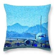 Aeroplane At Airport Throw Pillow by Antony McAulay
