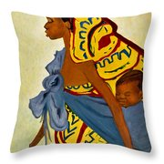 African Mother And Child Throw Pillow by Sher Nasser
