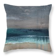 After The Storm- Abstract Beach Landscape Throw Pillow by Linda Woods