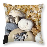 Agates Rocks Art Prints Petrified Wood Fossils Throw Pillow by Baslee Troutman