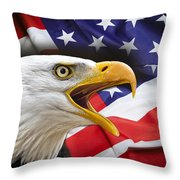 AGGRESSIVE EAGLE and UNITED STATES FLAG Throw Pillow by Daniel Hagerman