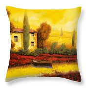 al tramonto sul fiume Throw Pillow by Guido Borelli