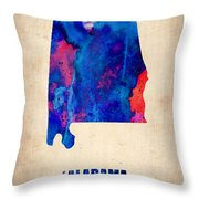 Alabama Watercolor Map Throw Pillow by Naxart Studio