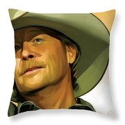 Alan Jackson Artwork Throw Pillow by Sheraz A