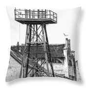Alcatraz Guard Lookout Tower Throw Pillow by Erik Brede