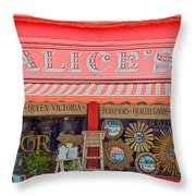 Alice's Antiques Throw Pillow by Georgia Fowler